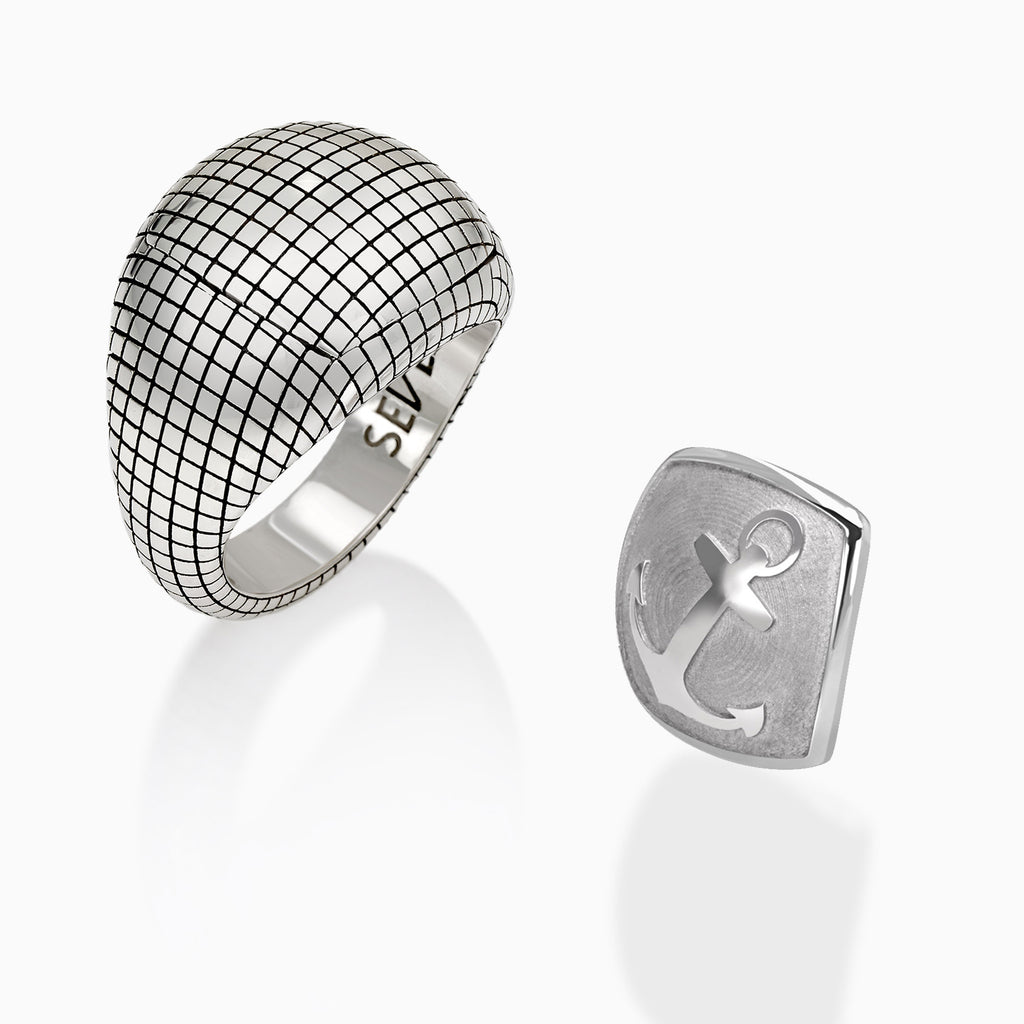 Sterling Silver Made in Italy turtle signet square shape ring + interchangeable head
