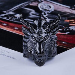SHEEP GOAT HEAD RING SEVEN50 IN STAINLESS STEEL
