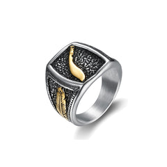 sword feather signet ring in stainless steel by seven50