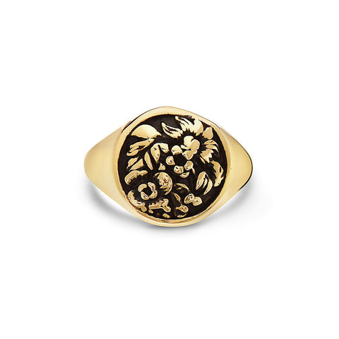 tomas-skoloudik--yellow-stainless-steelflower-garder-leaves-round-signet-ring--by-seven50