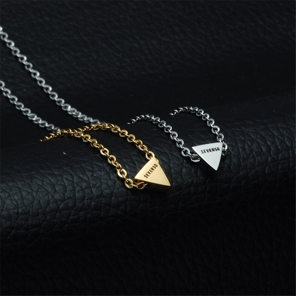 White Triangle pendant necklace in stainless steel by seven50 1