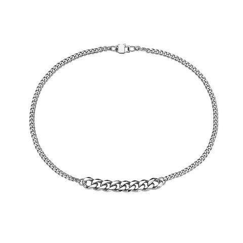 2 SIZES MIAMI CUBAN LINK ( 4 MM + 9MM ) STAINLESS STEEL CHOKER STACKEABLE NECKLACE