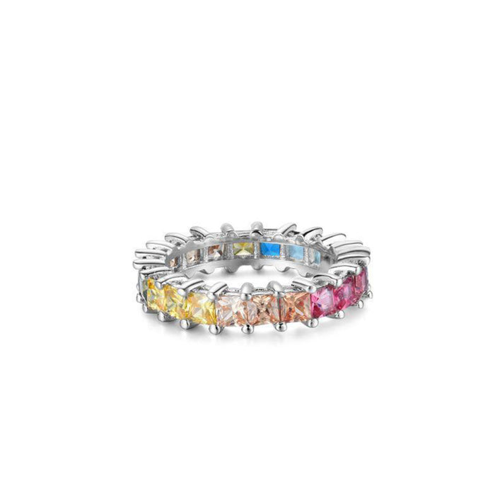 MULTICOLORED SQUARE ETERNITY STERLING SILVER BAND RING