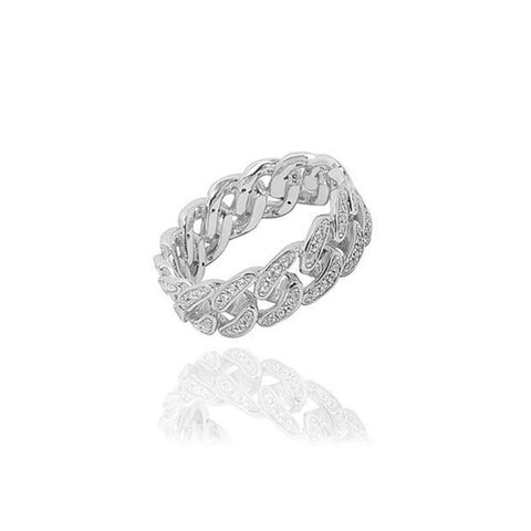 CUBAN LINK PAVE DIAMONDS STERLING SILVER RING