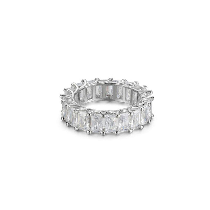 EMERALD CUT CUBIC ZIRCONIA ETERNITY BAND RING