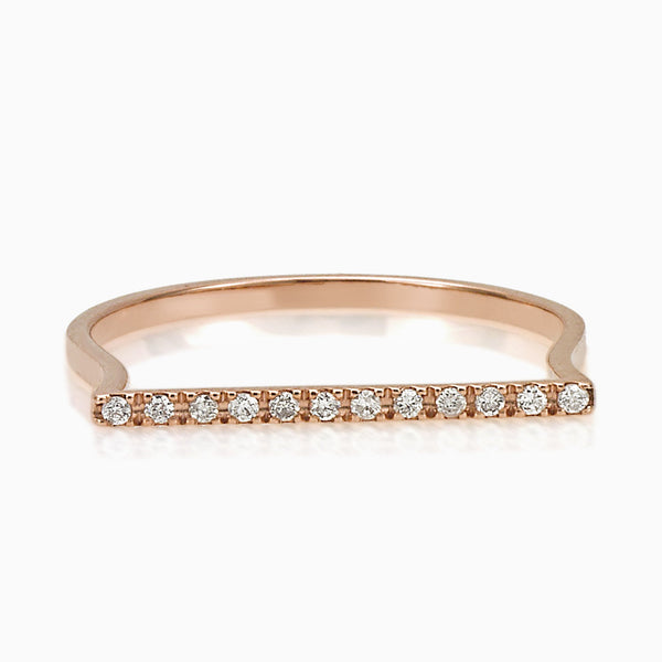 MADE IN ITALY BANGLE BAR DIAMOND ROSE GOLD RING