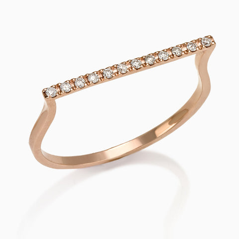 BANGLE BAR DIAMOND ROSE GOLD RING, WOMEN RING, SEVEN50 WOMAN, SEVEN50 GROUP USA - SEVEN-50.COM