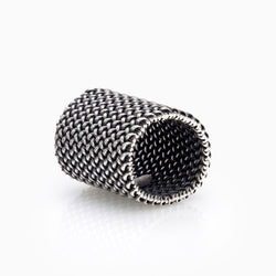 LARGE SILVER LIGHT MESH RING WOMEN SEVEN50 SALE JEWELRY ACCESSORY