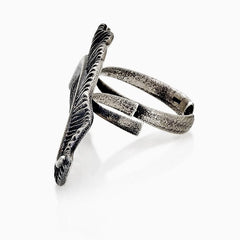 WOMEN RING - TWO FINGERS FEATHER RING SEVEN50 STERLING SILVER PREMIUM JEWELRY WOMENS ACCESSORY
