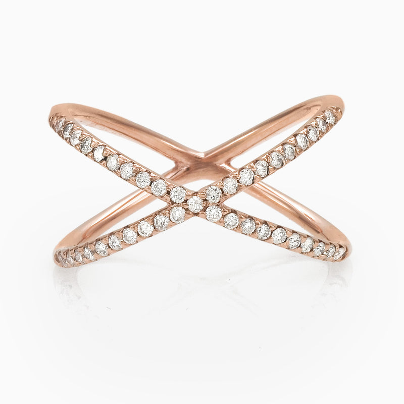 WOMEN RING - X PAVE RING SEVEN50 JEWELRY  ACCESSORY 9K ROSE GOLD BRILLIANT CUT DIAMOND FINISH