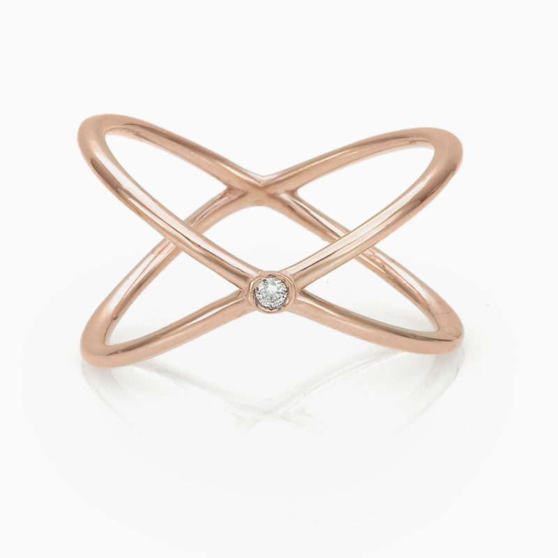 WOMEN RING - X SOLITAIRE RING JEWELRY SEVEN50 9K  ROSE GOLD BRILLIANT CUT DIAMOND by SEVEN50
