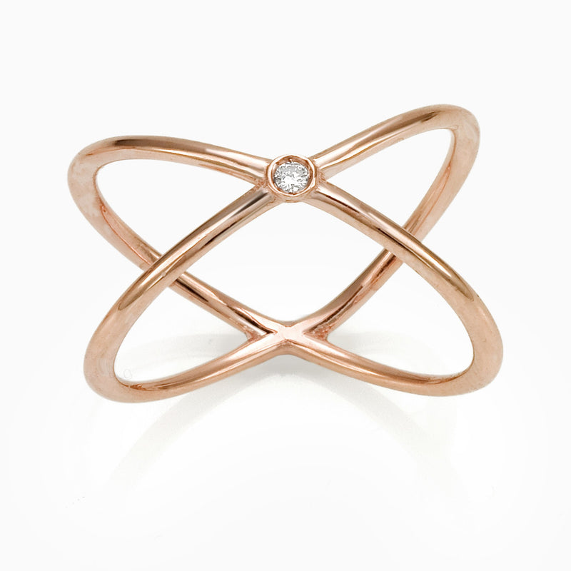 WOMEN RING - X SOLITAIRE RING JEWELRY SEVEN50 9K  ROSE GOLD BRILLIANT CUT DIAMOND