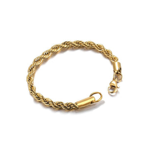 4MM YELLOW TWISTED WRIST ROPE CHAIN BRACELET