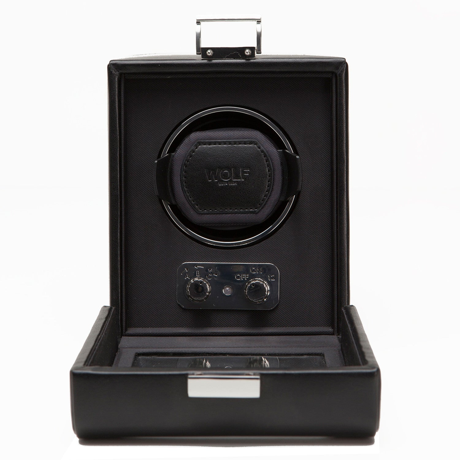 WOLF Heritage Single Watch Winder with Cover Black by Burton Blake