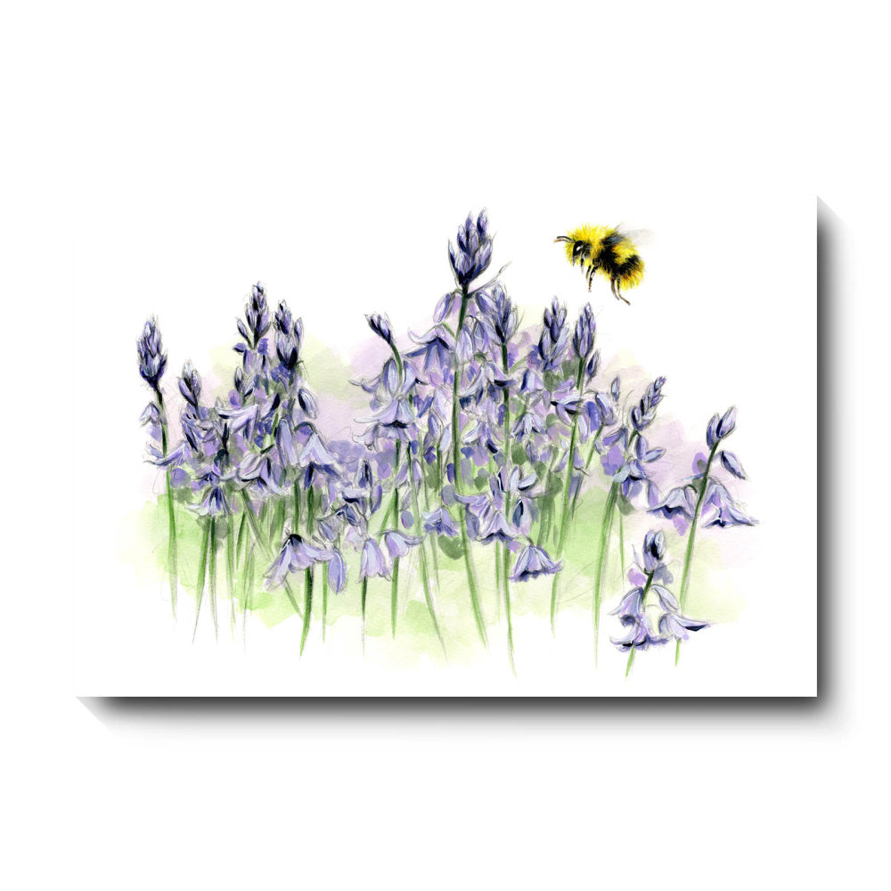 David Pooley Art Bluebells and Bee Canvas 61 x 41cm