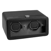 WOLF Windsor Double Watch Winder with Cover Black by Burton Blake