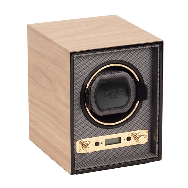 WOLF Meridian Single Watch Winder Blonde by Burton Blake