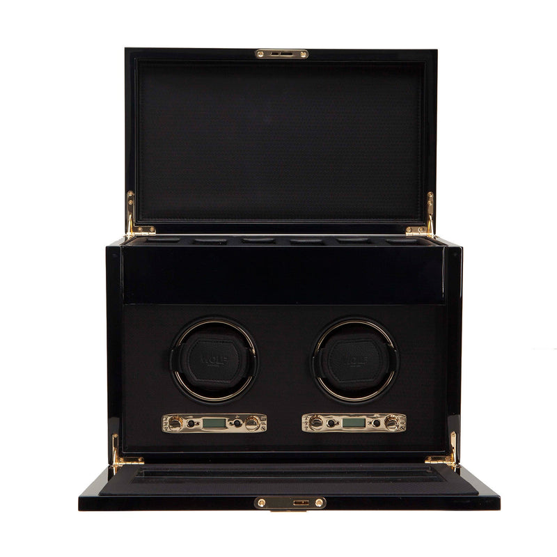 WOLF Savoy Double Watch Winder with Storage Burl by Burton Blake