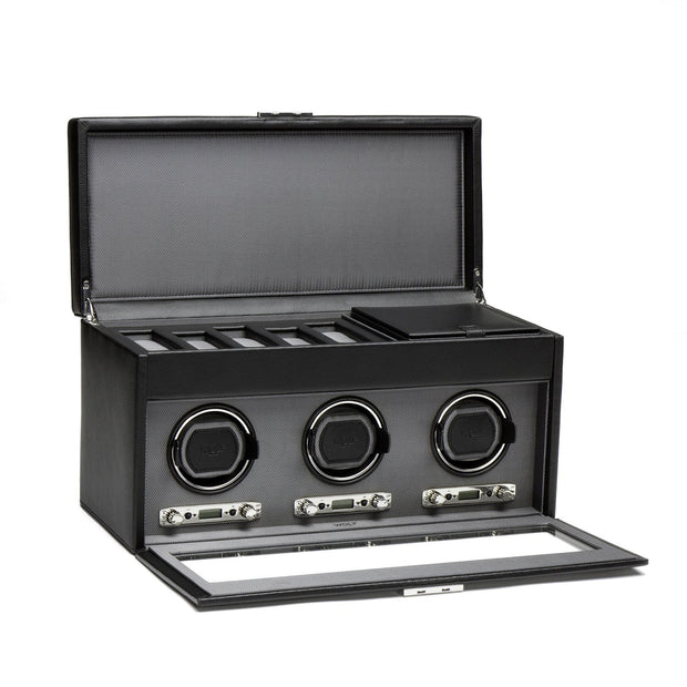 WOLF Viceroy Triple Watch Winder with Storage Black by Burton Blake