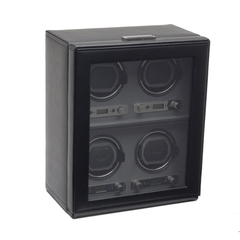 WOLF Viceroy Four Piece Watch Winder with Storage Black by Burton Blake