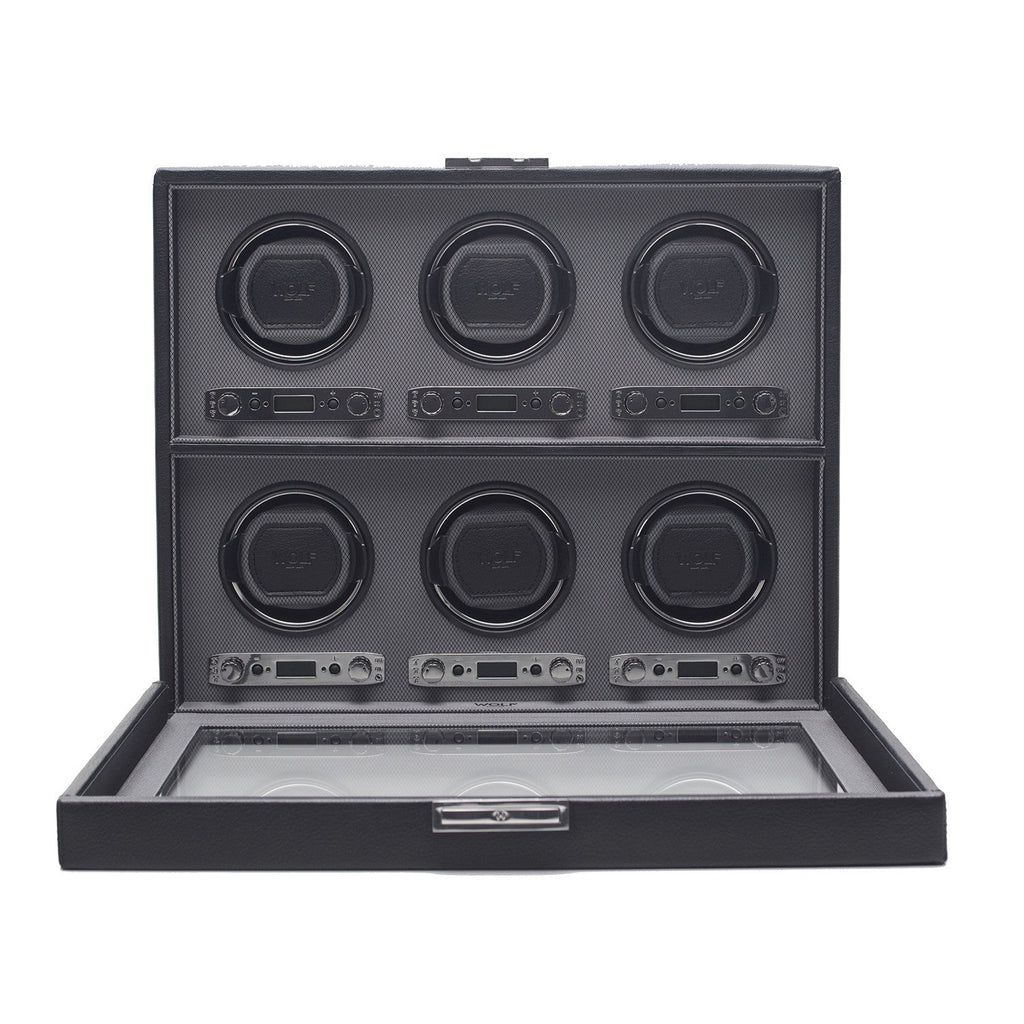 WOLF Viceroy 6 Piece Watch Winder Module 2.7 with Cover Black by Burton Blake