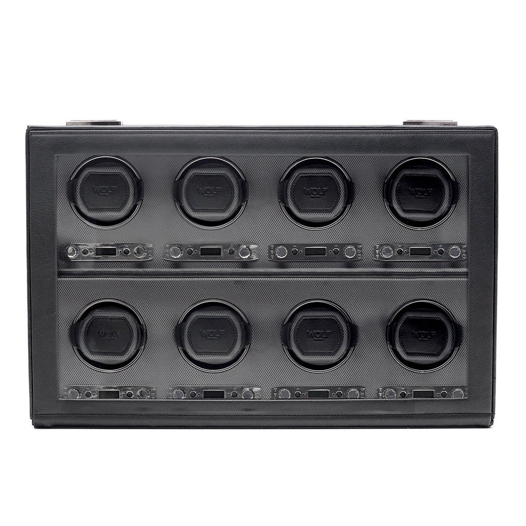 WOLF Viceroy 8 Piece Watch Winder Module 2.7 with Cover Black by Burton Blake