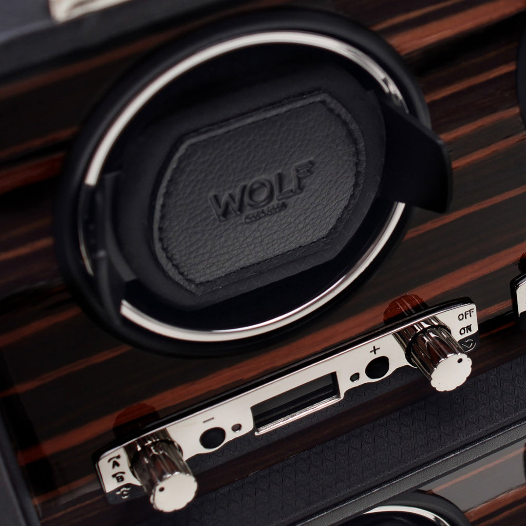 WOLF Roadster 8 Piece Watch Winder Module 2.7 with Cover Black by Burton Blake