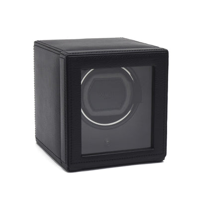 WOLF Cub Single Watch Winder with Cover Black by Burton Blake