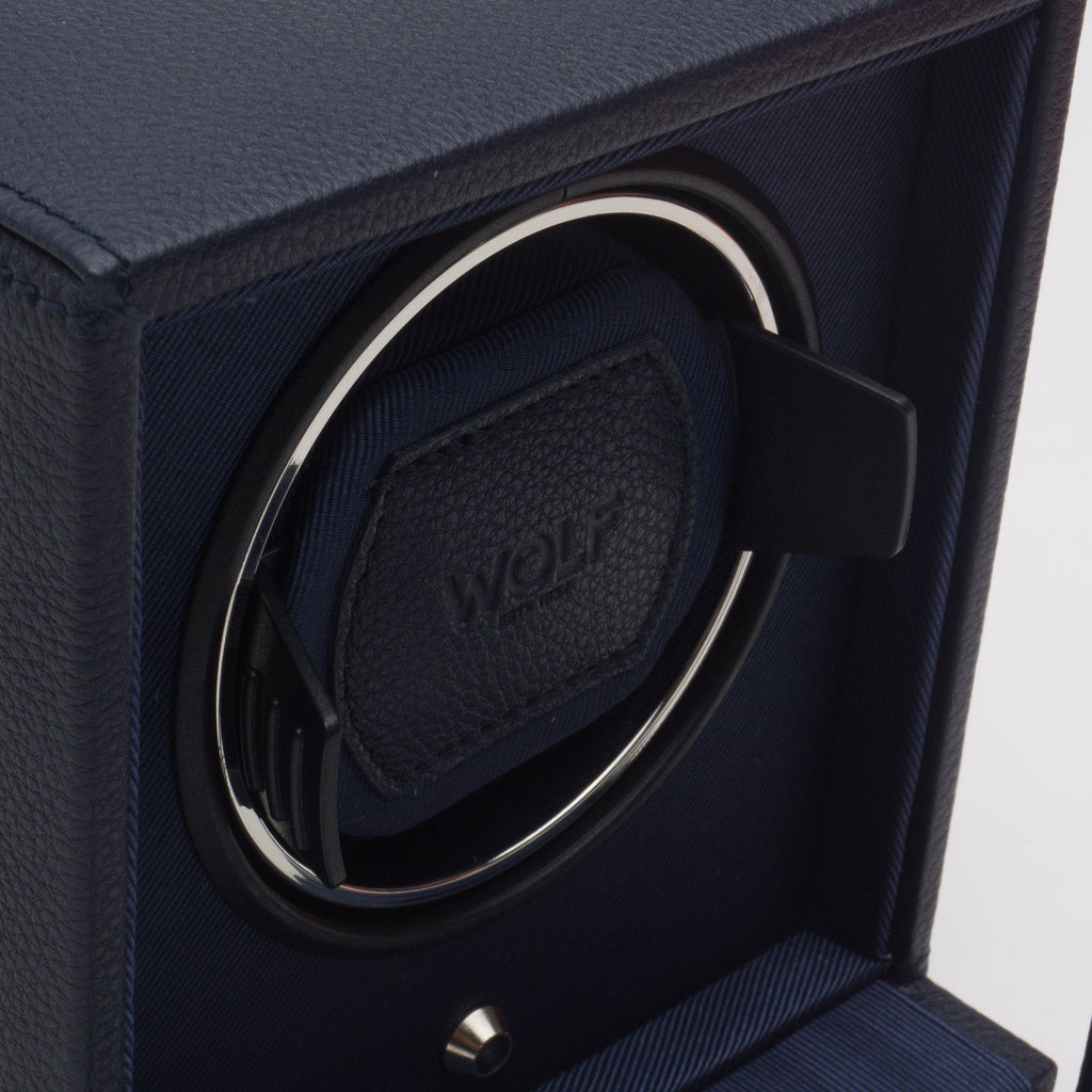 WOLF Cub Single Watch Winder with Cover Navy Blue by Burton Blake