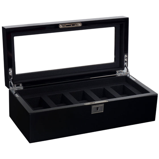 WOLF Savoy 5pc Watch Box Black by Burton Blake