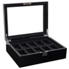 WOLF Savoy 10pc Watch Box Black by Burton Blake