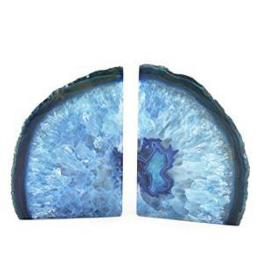 British Fossils Agate Bookends - Blue by Burton Blake