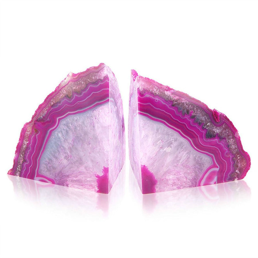British Fossils Agate Bookends - Pink by Burton Blake