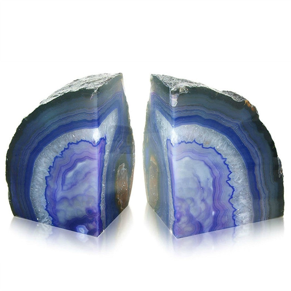 British Fossils Agate Bookends - Purple by Burton Blake