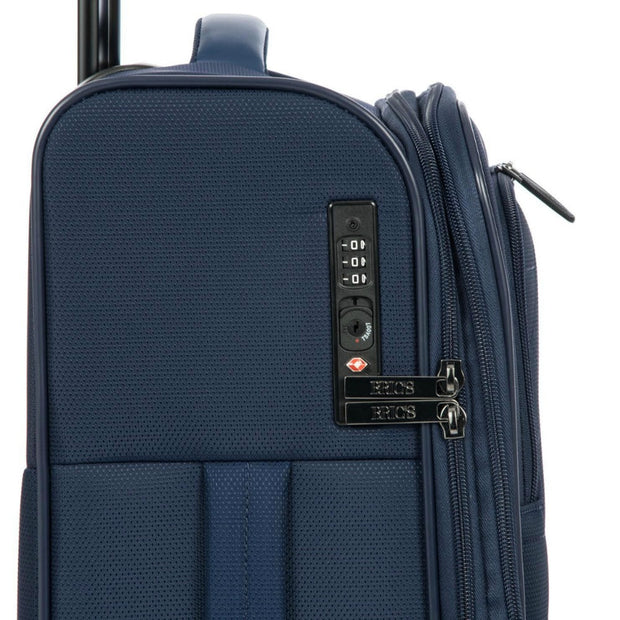 Bric's BY Collection Itaca Expandable 4 Wheel Soft Cabin Trolley Case 55cm Ocean Blue