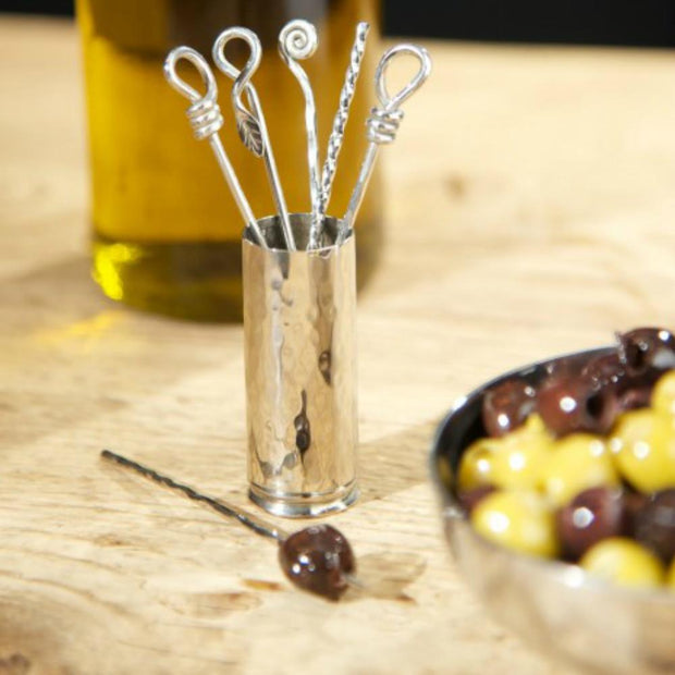 Culinary Concepts Set of Six Mixed Olive Picks & Holder