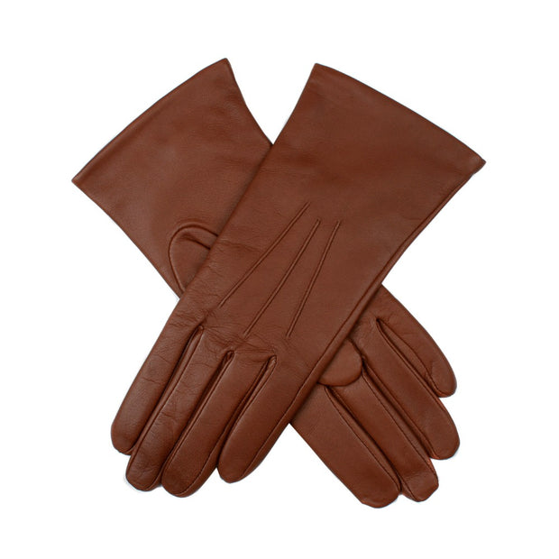 Dents Isabelle Women's Cashmere Lined Plain Hairsheep Leather Gloves - Cognac