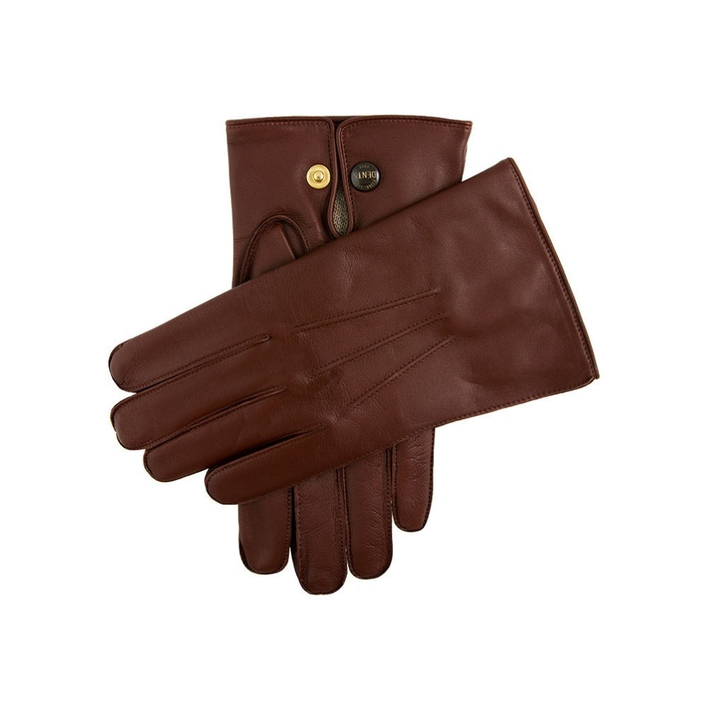 Dents Mendip Men's Wool Lined Leather Officer Gloves English Tan