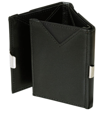 Exentri Wallets Leather RFID-Blocking Tri-Fold Wallet with Stainless Steel Clasp - Black