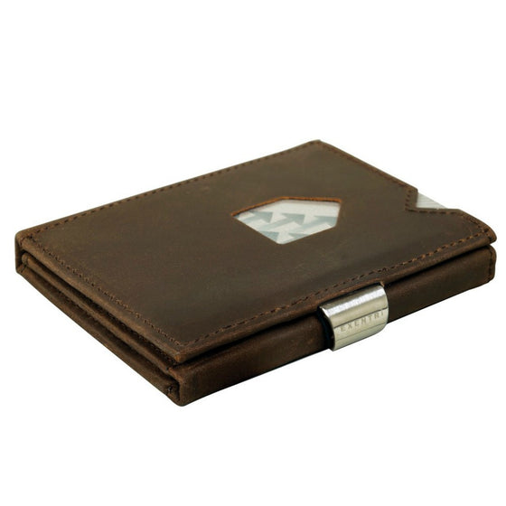 Exentri Wallets Nubuck Leather RFID-Blocking Tri-Fold Wallet with Stainless Steel Clasp - Brown