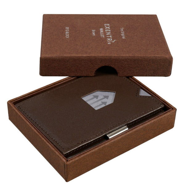 Exentri Wallets Leather RFID-Blocking Tri-Fold Wallet with Stainless Steel Clasp - Brown