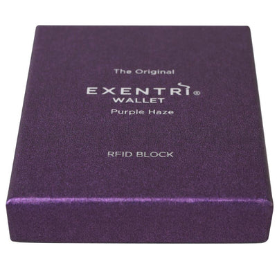 Exentri Wallets Leather RFID-Blocking Tri-Fold Wallet with Stainless Steel Clasp Purple Haze