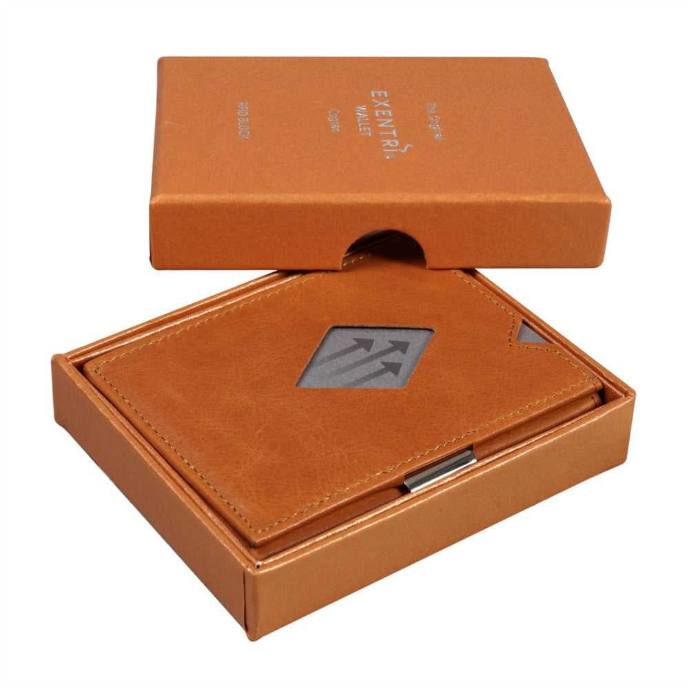 Exentri Wallets Leather RFID-Blocking Tri-Fold Wallet with Stainless Steel Clasp Cognac