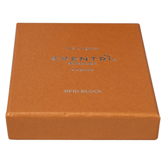Exentri Wallets Leather RFID-Blocking Tri-Fold Wallet with Stainless Steel Clasp - Cognac