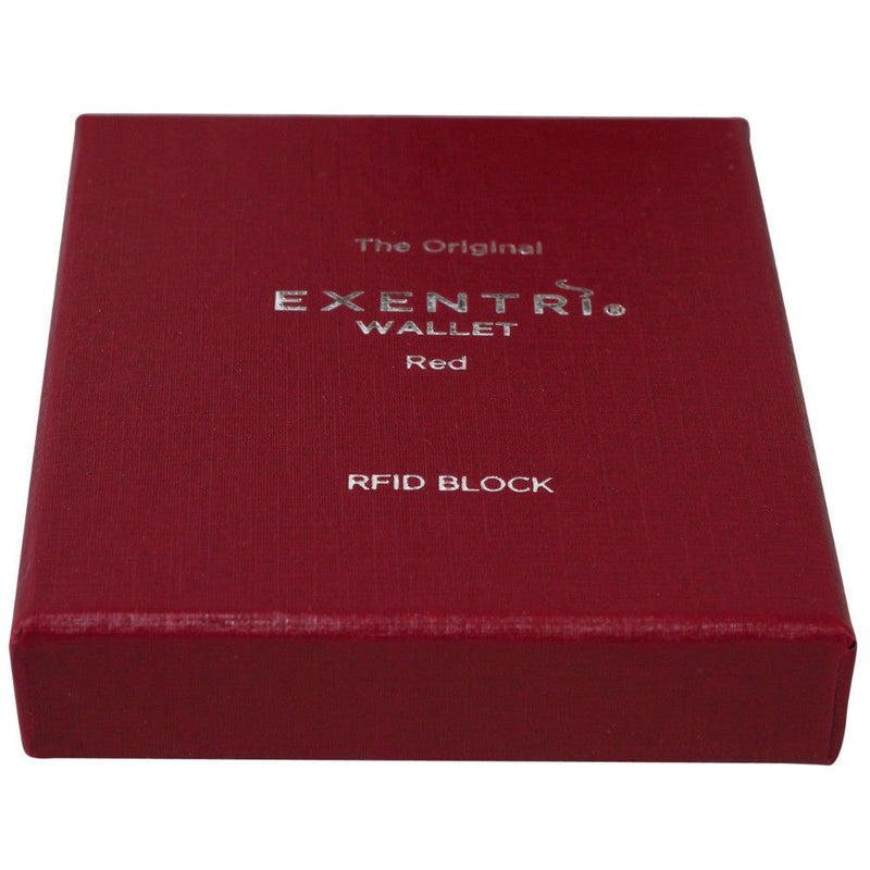 Exentri Wallets Leather RFID-Blocking Tri-Fold Wallet with Stainless Steel Clasp Red