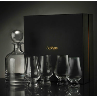Glencairn Crystal Iona Round Whiskey Decanter & Stopper with 4 Glasses in Presentation Gift Box by Burton Blake