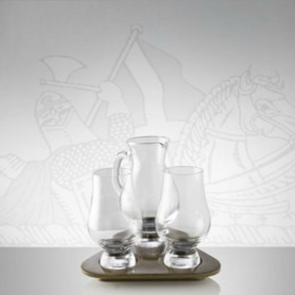 Glencairn Crystal 2 Whiskey Glasses with Water Jug and Travel Tray by Burton Blake