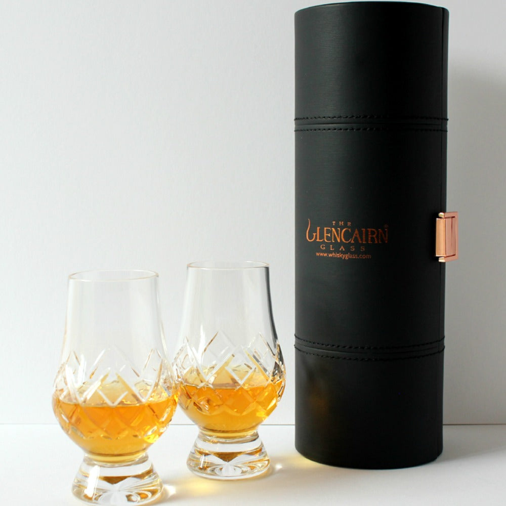 Glencairn Cut Crystal 2 Whisky Glasses in Travel Presentation Box