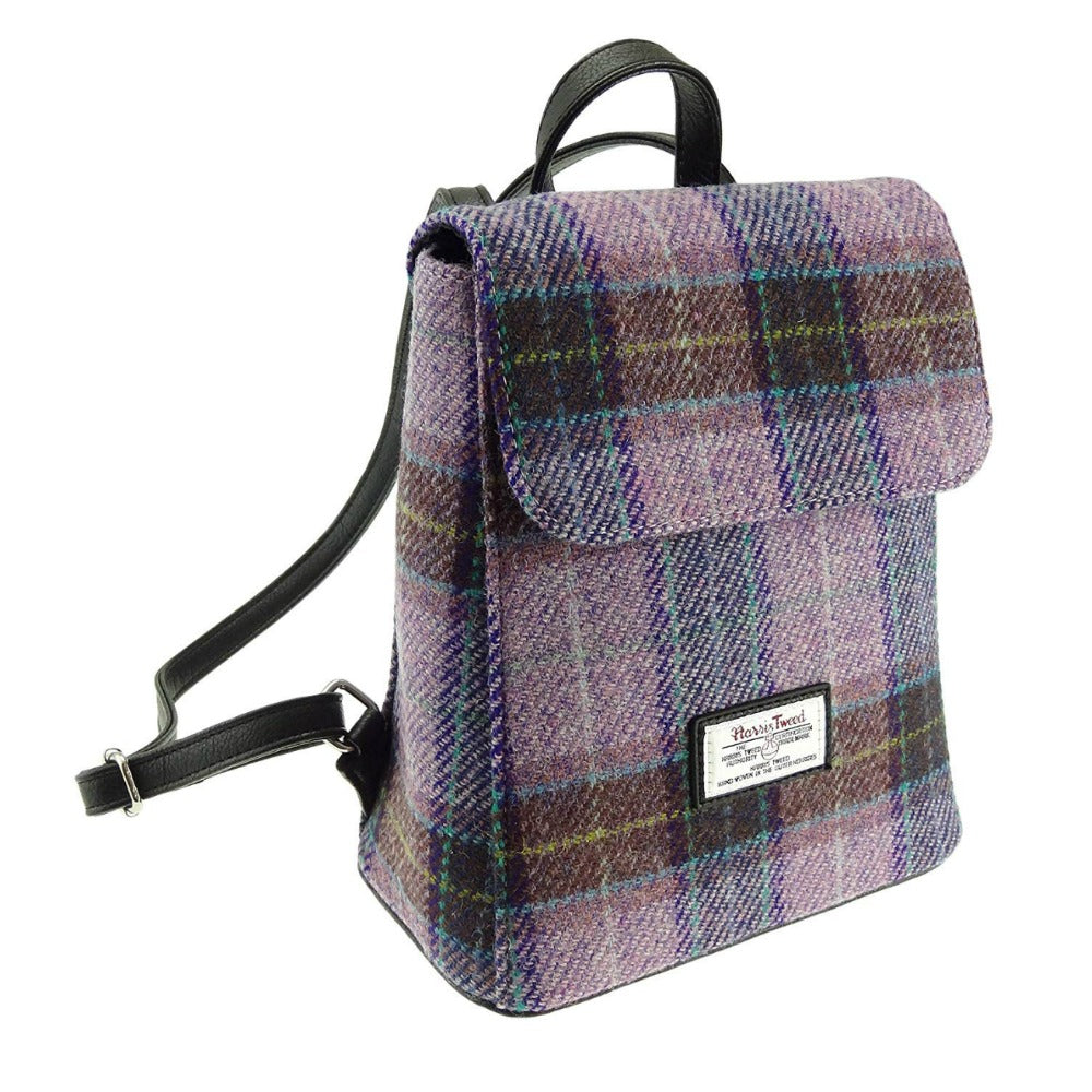 Glen Appin Harris Tweed Mini Backpack Tummel Pink Lilac Check