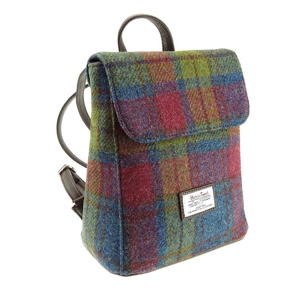Glen Appin Harris Tweed Mini Backpack Tummel Multi Colour Tartan